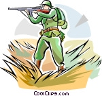 WW1 soldier with weapon Vector Clip art