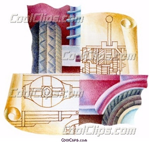 blueprints for an automobile Royalty Free Fineart Raster Illustration Clipart wb024814