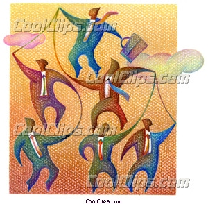 businessman puppeteer, teamwork Royalty Free Fineart Raster Illustration Clipart wb025674