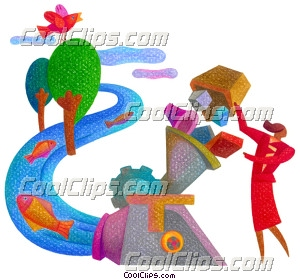 woman creating environmentally safe Royalty Free Fineart Raster Illustration Clipart wb027890