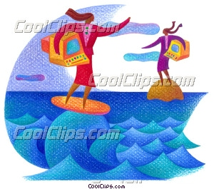 woman surfing with a computer Royalty Free Fineart Raster Illustration Clipart wb027903