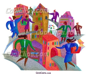 business people on the move Royalty Free Fineart Raster Illustration Clipart wb027935