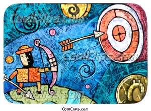 Targets and Objectives Royalty Free Fineart Raster Illustration Clipart wb031960