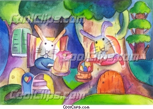 Easter Bunny Royalty Free Fineart Raster Illustration Clipart wb032016