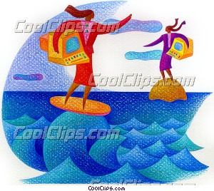 Surfing Royalty Free Fineart Raster Illustration Clipart wb032179