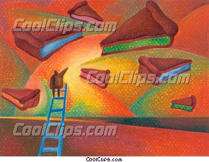 Climbing Ladders Royalty Free Fineart Raster Illustration Clipart wb032256
