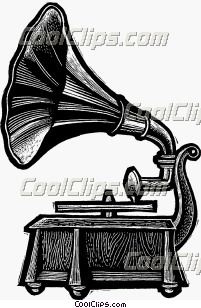 Phonograph Gramophone Record Player Royalty Free Fineart Raster Illustration Clipart wb033347