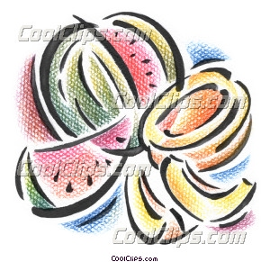 watermelon and honey dew melon Royalty Free Fineart Raster Illustration Clipart wb043432