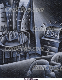 Room scene with clock Royalty Free Fineart Raster Illustration Clipart wb045137