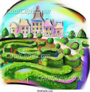 European chateau, France Royalty Free Fineart Raster Illustration Clipart wb045714