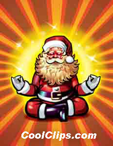 Santa Claus in deep meditation Royalty Free Fineart Raster Illustration Clipart wb048618