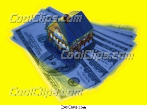 model house on top of a stack of bills Royalty Free Stock Photo Clipart wb026161