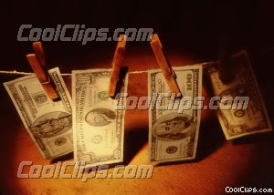 US $ bills drying on a clothes line Royalty Free Stock Photo Clipart wb026224