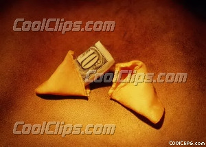 fortune cookie 10$ bill sticking out Royalty Free Stock Photo Clipart wb026239