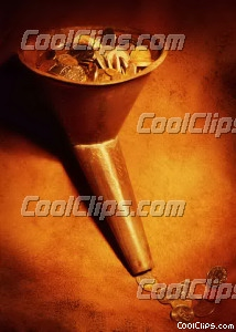 old metal funnel with coins Royalty Free Stock Photo Clipart wb026249
