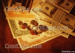 stacks of coins, bills, gold bars Royalty Free Stock Photo Clipart wb026273