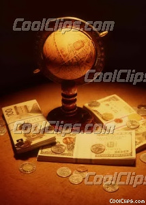 globe with stacks currencies and coins Royalty Free Stock Photo Clipart wb026274