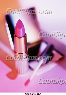 open compact mirror, lipstick, lip brush Royalty Free Stock Photo Clipart wb026903