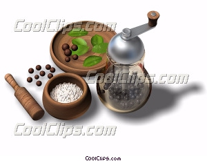 peppermill with spices Royalty Free Stock Photo Clipart wb042533