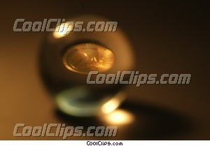 crystal ball with a coin inside Royalty Free Stock Photo Clipart wb042866