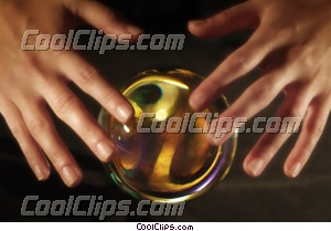 hands and a crystal ball Royalty Free Stock Photo Clipart wb042878