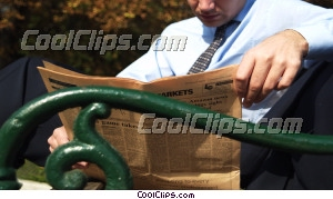 man reading the newspaper Royalty Free Stock Photo Clipart wb043527