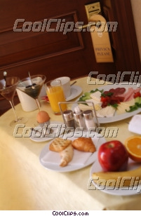 breakfast tray at hotel door Royalty Free Stock Photo Clipart wb043911