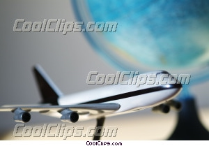 747 model airplane with globe Royalty Free Stock Photo Clipart wb044137
