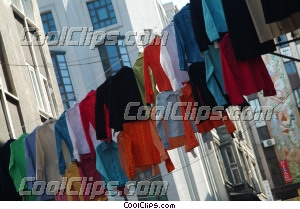 laundry hanging on the clothes line Royalty Free Stock Photo Clipart wb044366