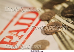 financial concept paid bill with money Royalty Free Stock Photo Clipart wb045373