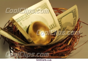 nest egg with dollars Royalty Free Stock Photo Clipart wb045402
