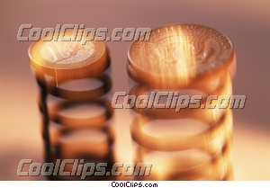 financial concept coins on springs Royalty Free Stock Photo Clipart wb045440