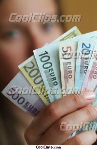 woman holding money Royalty Free Stock Photo Clipart wb045445