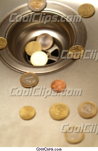 money going down the drain Royalty Free Stock Photo Clipart wb045454