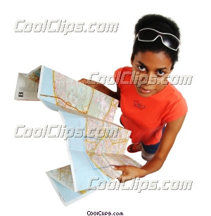 femme en regardant une carte photo libre de droits clipart wb045882