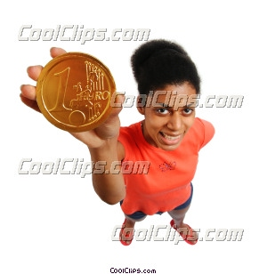 woman holding a coin Royalty Free Stock Photo Clipart wb045885