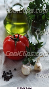 garlic cloves, tomatoes, olive oil Royalty Free Stock Photo Clipart wb045912