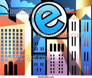 Electronic commerce with city skyline