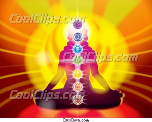 Lotus Pose with Seven Chakras