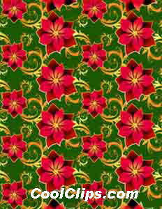 Poinsettia Gift Wrap Royalty Free Fineart Raster Illustration Clipart wb051839