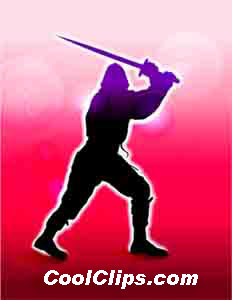 Samurai Ninja Royalty Free Fineart Raster Illustration Clipart wb052489