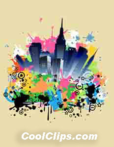 New York Splash Royalty Free Fineart Raster Illustration Clipart wb052543