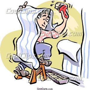 man putting up wallpaper clip art