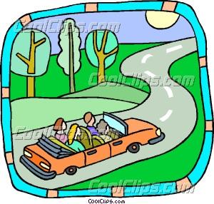 Family Trip In Car Clip Art