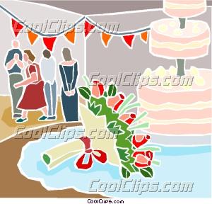 Wedding reception and wedding cake Clip Art