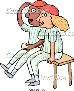baseball players on the bench clip art