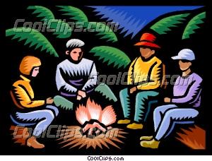 Family Sitting Around Campfire