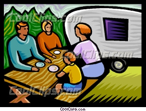 Family Camping Breakfast Clip Art