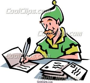 Elf writing christmas cards clip art m4hsunfo