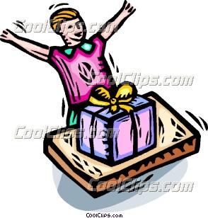 男孩兴奋地打开生日礼物 矢量剪贴画 - coolclips